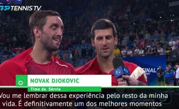 """TÊNIS: ATP Cup: Djokovic: """"Vencer o ATP Cup com meus melhores amigos de longa data é especial demais!"""""""