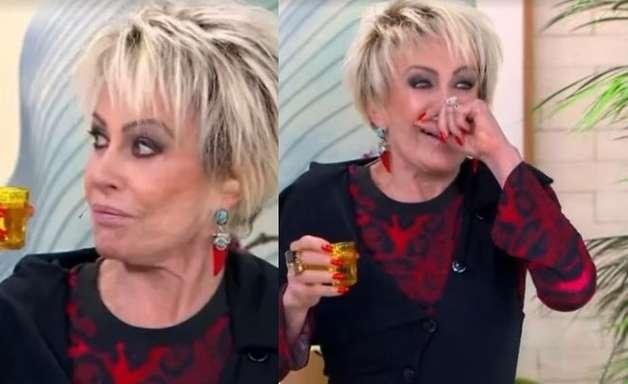 Ana Maria Braga se engasga ao virar shot de vinagre: 'Deu uma travada'