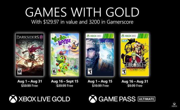 Games With Gold de agosto tem Darksiders III; confira