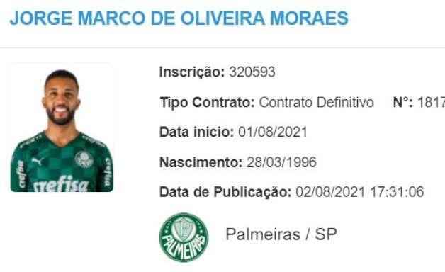 Jorge é regularizado no BID e depende apenas da parte física para estrear pelo Palmeiras