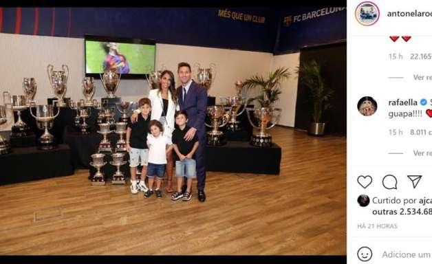 """Esposa de Messi dá adeus ao Barcelona e recebe mensagem da irmã de Neymar: """"Sejam bem-vindos"""""""