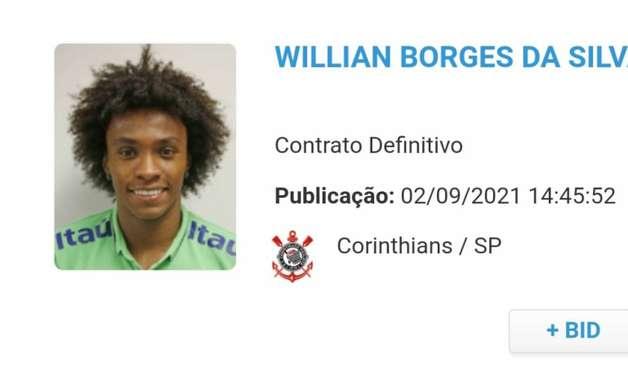 Wilian é registrado no BID e pode estrear pelo Corinthians