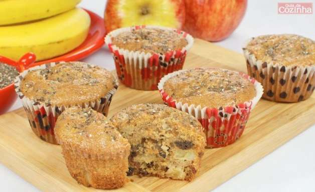 Muffin funcional de banana e maçã