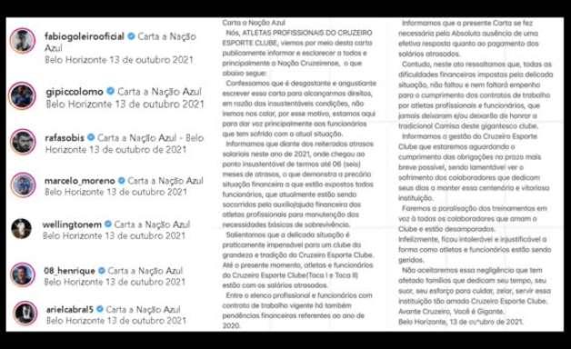 CRUZEIRO: Vai parar! Jogadores postam carta aberta em redes sociais comunicando paralisação dos treinamentos após 6 meses de salários atrasados