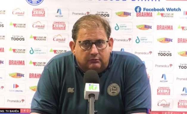 """BAHIA: Guto Ferreira convoca torcida para ir ao estádio contra o Ceará: """"Precisamos botar os 14 mil aqui dentro, venha ajudar o Bahia"""""""
