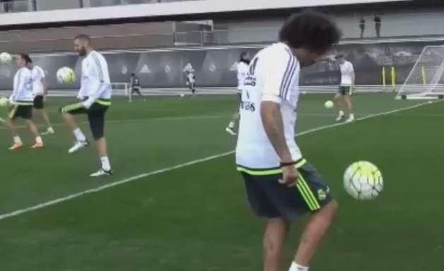 Não deixa cair! Marcelo e Casemiro trocam passes de cabeça