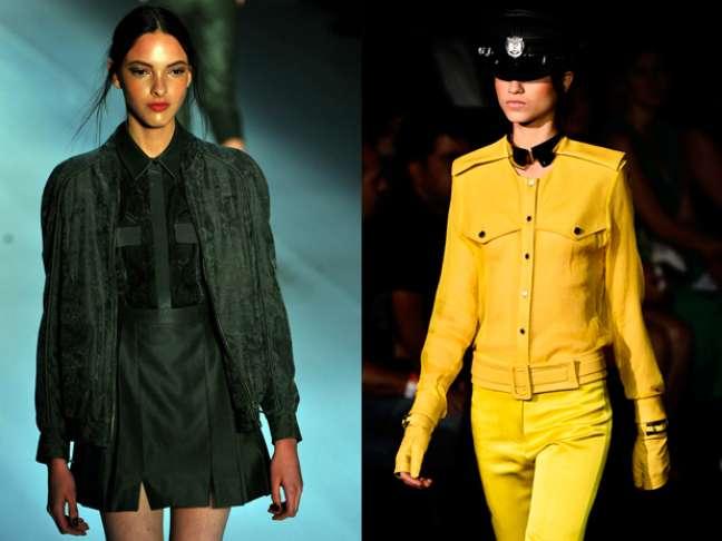 Militar - Trenchcoat, verde-oliva, ombros com dragonas, pala traseira, abotoamento duplo nos blazers e casacos, botas pesadas. É forte
