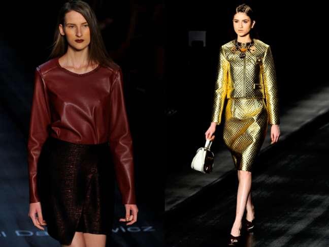 """A versão """"pocket"""" do SPFW trouxe tendências para o inverno de 2013, como o dourado e tecidos metalizados"""