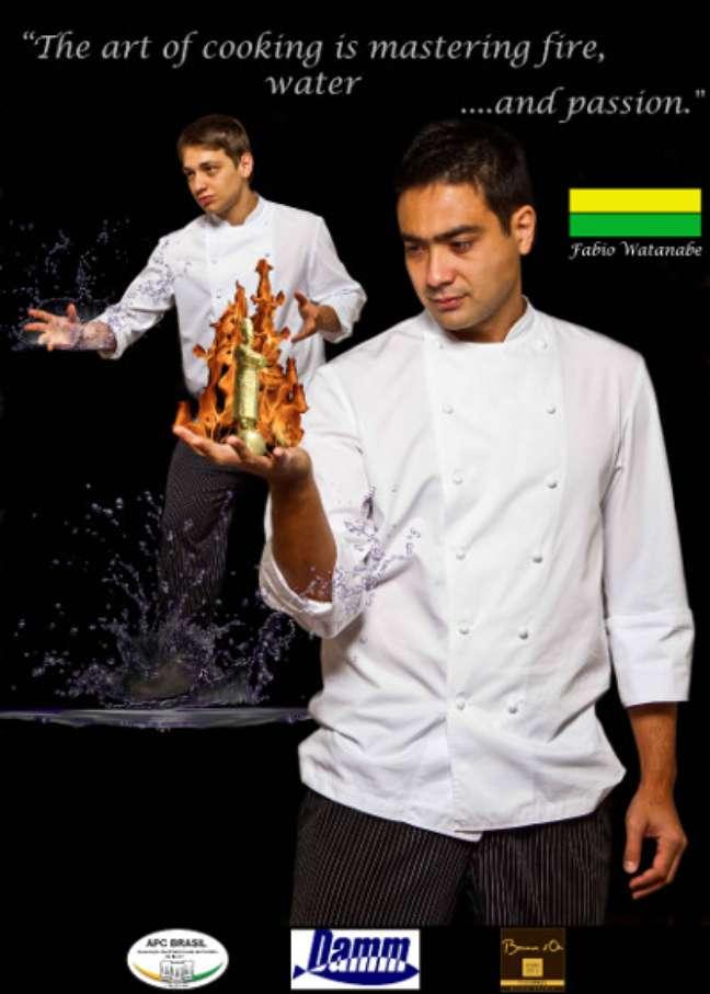Cartaz do brasileiro Fábio Watanabe, que é um dos 24 finalistas da prestigiada competição gastronômica