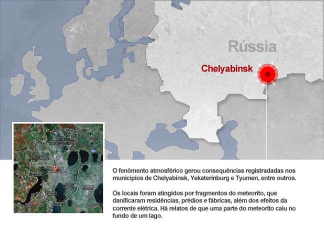Mapa: veja em que parte da Rússia caiu o meteorito
