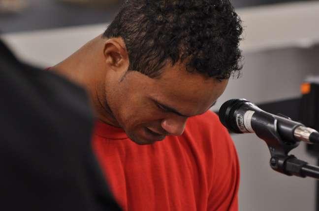 <p>O goleiro Bruno durante seu julgamento no Fórum de Contagem</p>