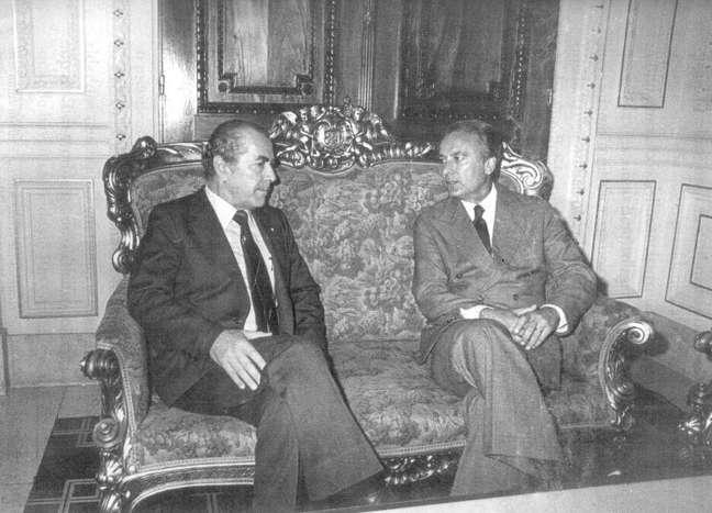 <p>Governadores do Rio de Janeiro, Leonel Brizola, e Jair Soares (dir.), do Rio Grande do Sul, se encontram após a eleição de 1982</p>