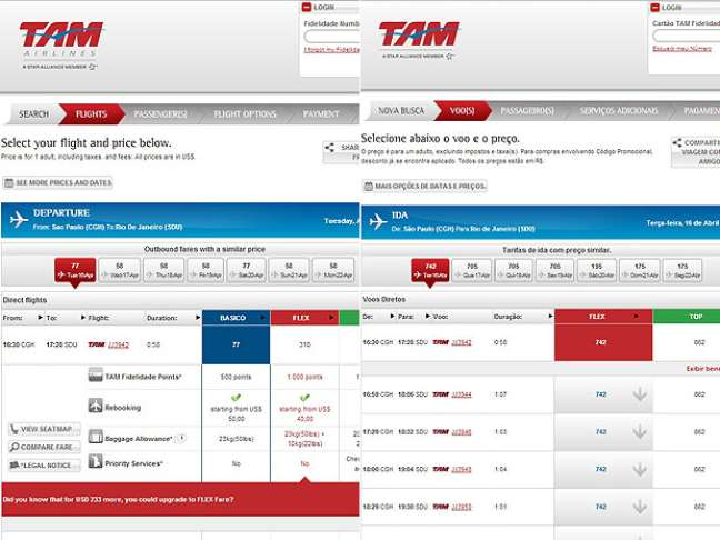 Comparação mostra que no site em inglês é possível comprar voo básico vedado no site nacional