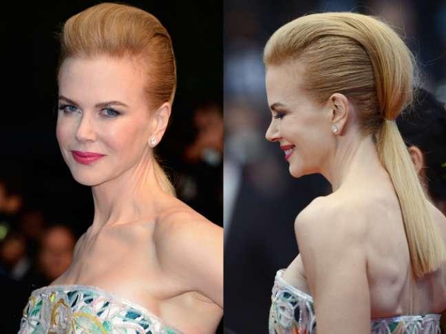 A atriz Nicole Kidman desfilou um rabo de cavalo estranho na cerimônia de abertura do Festival de Cannes, no Theatre Lumiere, dia 15 de maio, na França