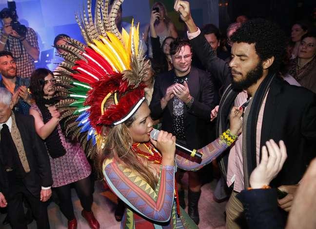 Gaby Amarantos fez show no Lounge do Cinema Brasileiro do Festival de Cannes, na França, na noite desta terça-feira (21)