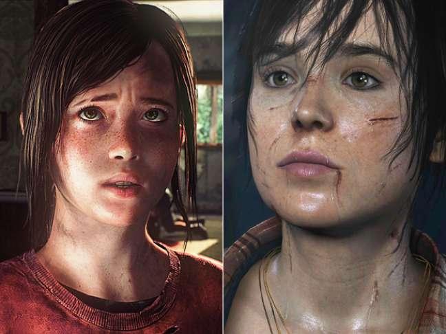 <p>Ellen Page não gostou da semelhança com a personagem Ellie (esq.), de 'The last of Us', pois já protagoniza com Jodie (dir.) o jogo 'Beyond: Two Souls'</p>