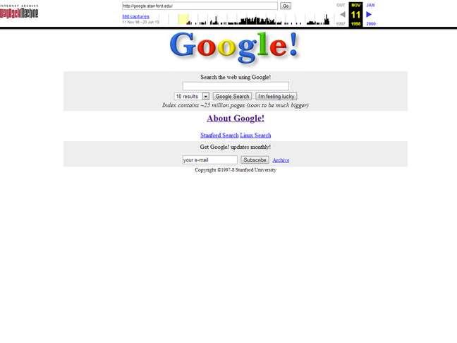 Wayback Machinie do Internet Archive permite ver layouts antigos de sites, como o do Google em 1998