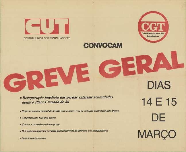 <p>Em 14e 15 de março de 1989, sindicalistas fizeram a segunda greve geral do Brasil contra o governo de José Sarney</p>