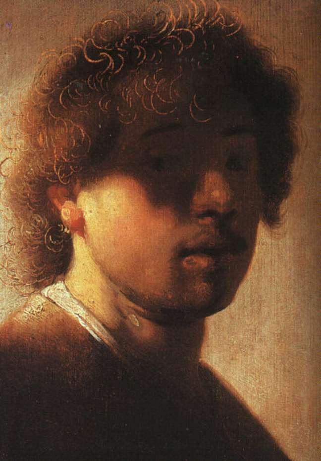 Auto-retrato mostra Rembrandt aos 22 anos, em 1968
