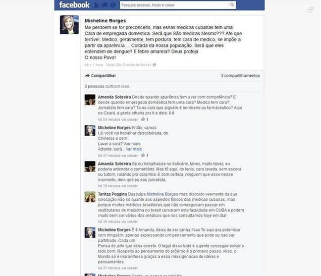 No Facebook, jornalista disse que médicas cubanas pareciam empregadas domésticas