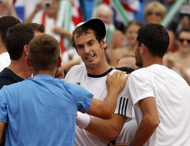 Andy Murray e demais britânicos comemoram volta ao grupo mundial da Davis