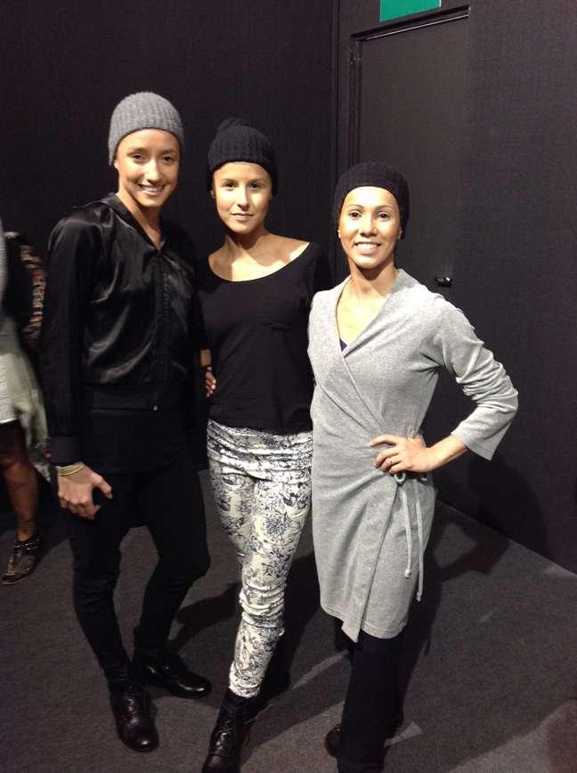 <p>(Da esq. pra dir.)Danyla Bezerra, Letícia Martins e Duda Braz, bailarinas que irão desfilar pela Uma</p>