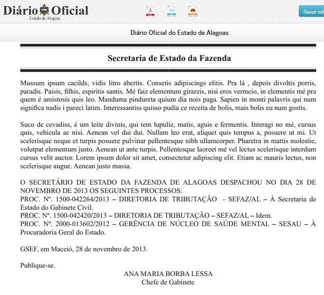 Trecho na página 10 do Diário Oficial de Alagoas foi publicado com linguagem usada pelo Mussum