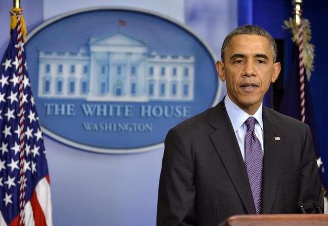 <p>O presidente norte-americano, Barack Obama, durante pronunciamento sobre a morte do ex-presidente sul-africano Nelson Mandela, em Washington</p>