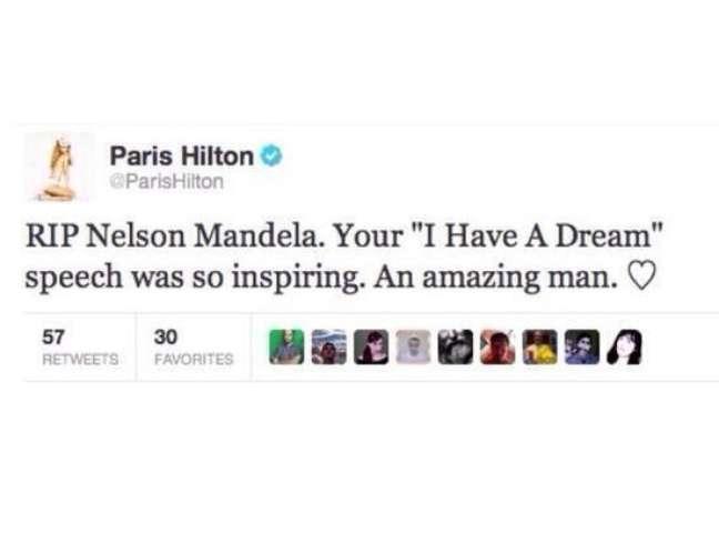 <p>Imagem que circula na internet e mostraria gafe de Paris Hilton é falsa, garante a socialite</p>