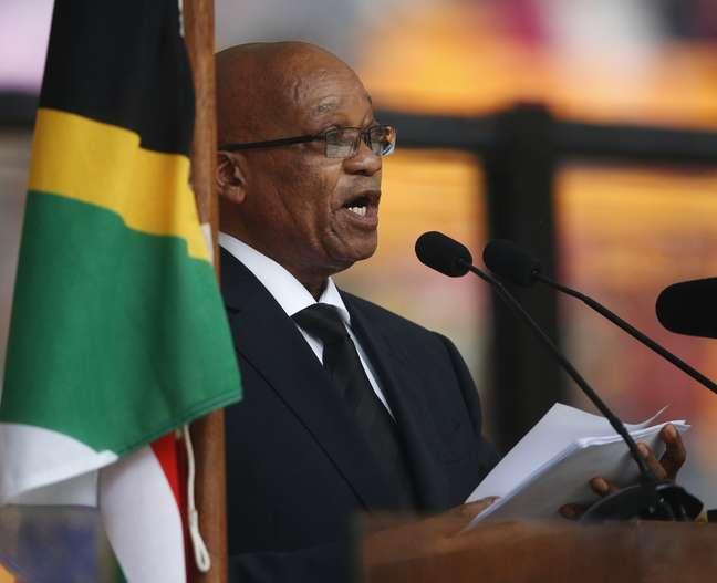 O presidente da África do Sul, Jacob Zuma, durunte discurso no funderal de Nelson Mandela