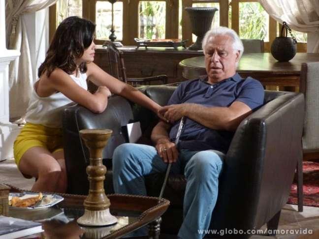<p>César (Antonio Fagundes) finalmente percebe a traição de Aline (Vanessa Giácomo)</p>