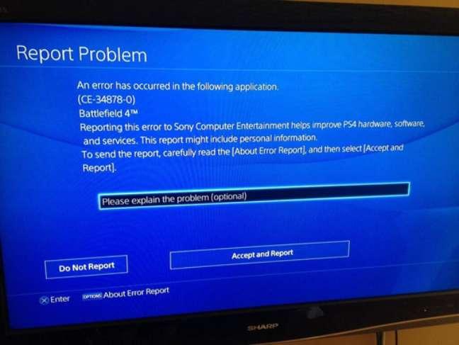 Tela com erro apontado por usuários em fórum do PS4