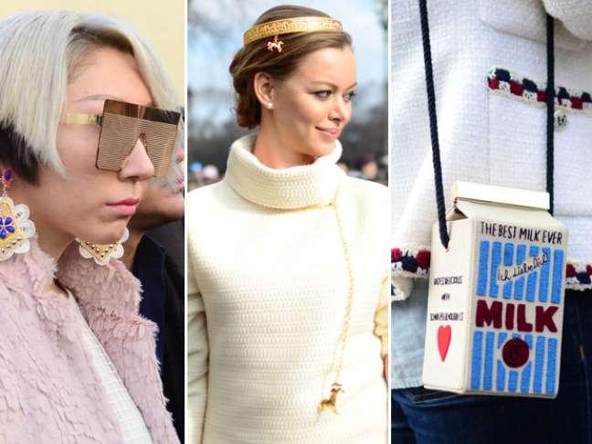 <p>Bolsas irreverentes e acessórios nos cabelos tiveram destaque na semana de moda de Paris</p>