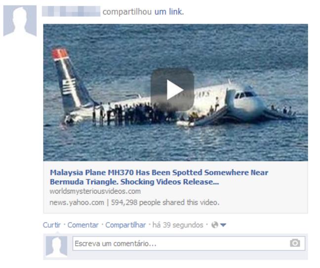 Campanha no Facebook promove falso vídeo da localização do avião da Malaysia Airlines