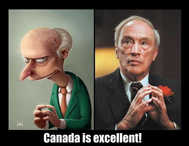 """Movimento online pró-independência brinca com foto de líder canadense ao compará-lo com personagem vilão de """"Os Simpsons"""""""