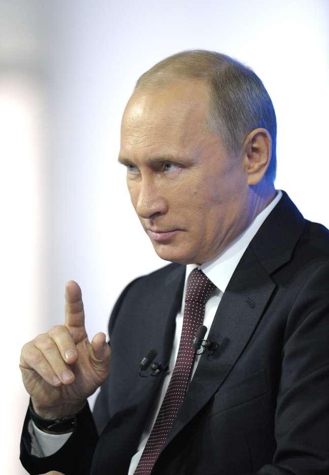 <p>Presidente Vladimir Putin,&nbsp;em uma apari&ccedil;&atilde;o na televis&atilde;o em Moscou, nesta quinta-feira,&nbsp;17 de abril</p>