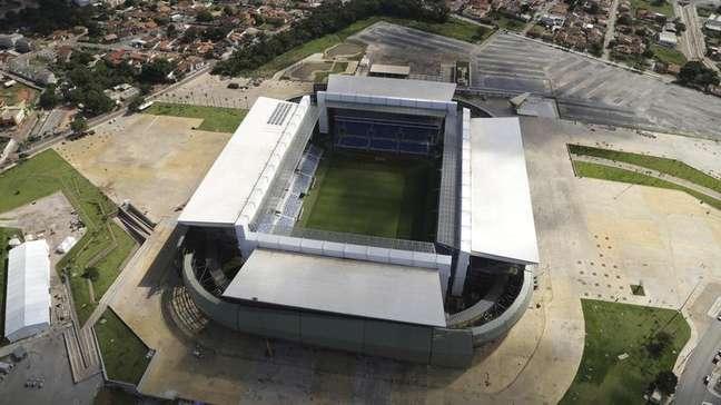 <p>Vista aérea da Arena Pantanal em Cuiabá</p>
