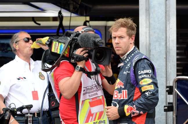 <p>Sebastian Vettel abandonou no início da prova</p>