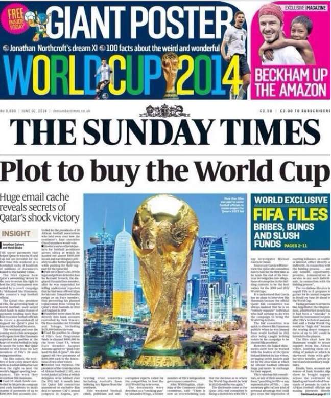 Sunday Times denuncia compra de votos na eleição da sede do Mundial de 2022