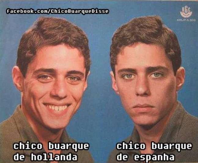 <p>Além da popularidade por suas composições, Chico Buarque também se consagrou como um meme nas redes sociais. Baseada na capa do disco de estreia do músico, <em>Chico Buarque de Hollanda Vol. 1</em>, a página <em>Chico Buarque Disse</em>, criada em junho de 2013, faz montagens bem humoradas com a arte do álbum. Confira algumas na galeria</p>
