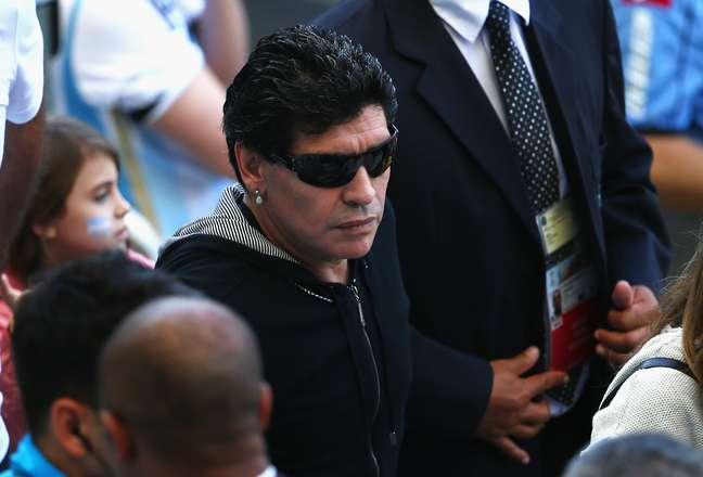<p>Depois de não conseguir assistir à estreia no Maracanã, Maradona foi ao Mineirão acompanhar a Argentina</p>