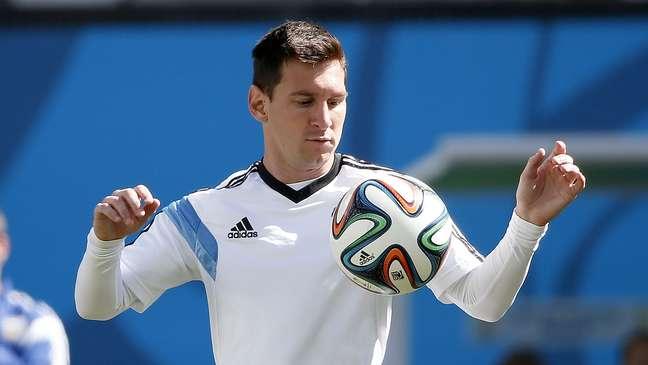 <p>Lionel Messi no treinamento da véspera do jogo, segunda-feira, em Itaquera</p>