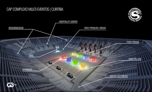 <p>Mapa explica como funcionará evento na Arena da Baixada</p>