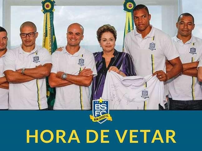 Grupo de integrantes do Bom Senso FC em visita à presidente Dilma Rousseff, em maio de 2014