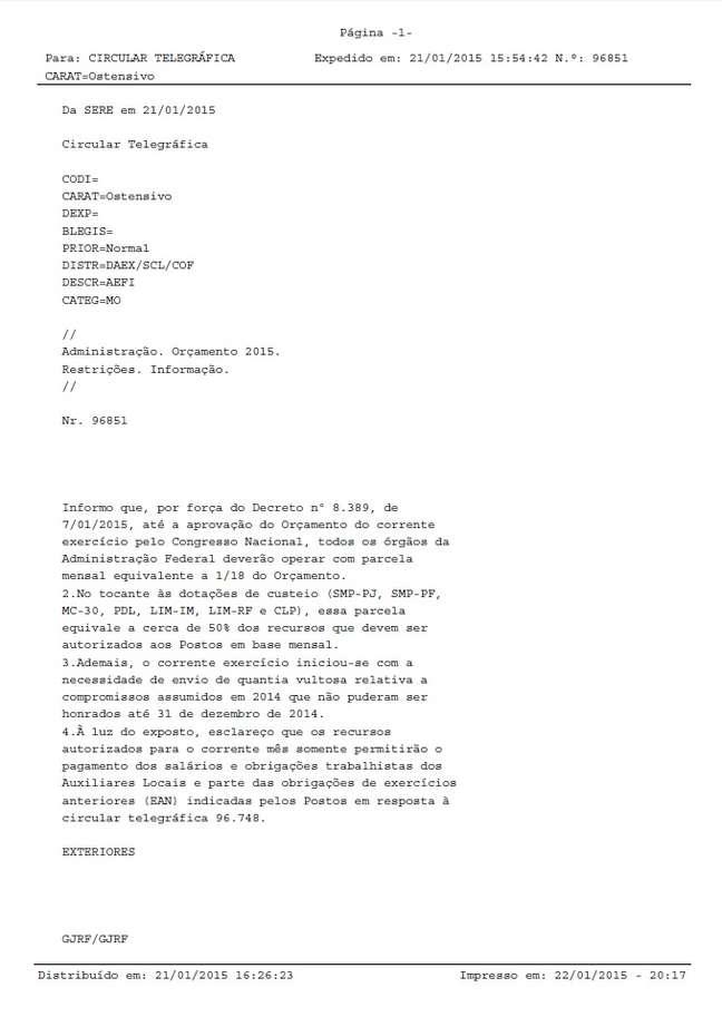 """<p><span style=""""font-size: 15.4545450210571px;"""">Comunicado expedido pela Divisão de Acompanhamento e Coordenação Administrativa dos Postos no Exterior (DAEX)</span></p>"""