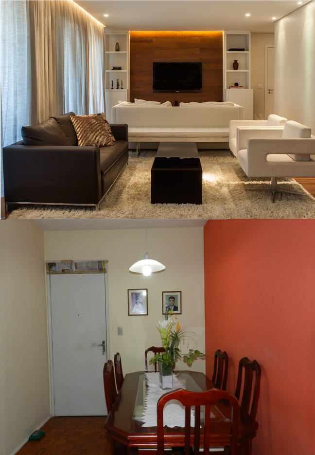 Para iluminar a sala de Ana Marcia (foto debaixo), paredes e decoração em tons frios
