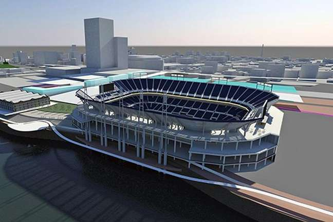 <p>Projeto do possível novo estádio do St Louis Rams; ele seria construído com dinheiro público</p>
