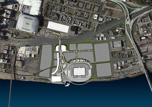 <p>Novo estádio dos Rams ficaria a alguns metros doEdward Jones Dome</p>
