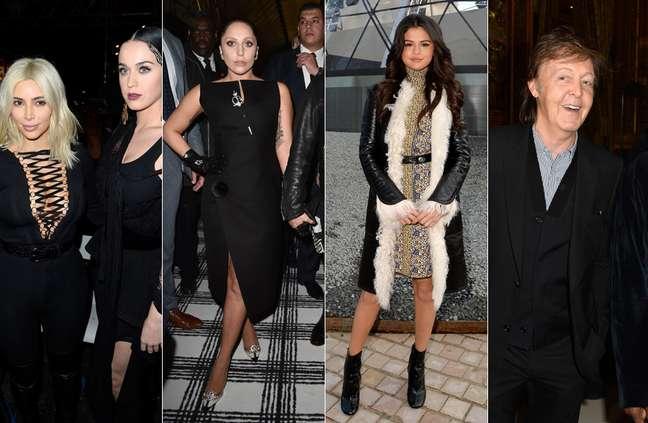 Kim Kardashian, Katy Perry, Lady Gaga, Selena Gomez e Paul McCartney estiveram entre os convidados das primeiras filas dos desfiles de Paris na última semana