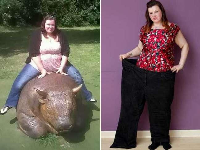 <p>Menos de 70 quilos depois, Janine posa sorridente</p>